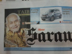 The write up on Pehin Seri Taib published in the New Sarawak Tribune.
