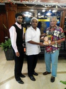 Catching with an old buddy and contemproary Anantha Raja Art Thamboo MD of Eric Pringle Associates Public Relations Sdn Bhd . Handing ART a copy of TAIB -THE VISIONARY. With Krishna Criss Dee Jay Senior PA to AsiaPR GMD Sivakumar Ganapathy.