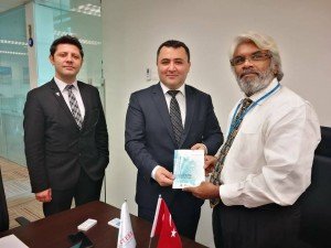 With Mr Refik Ozgur - Chief Commercial officer at the Turkish Embassy together with A Samet Damar and Uygar Tatar of TURKISH STEEL.